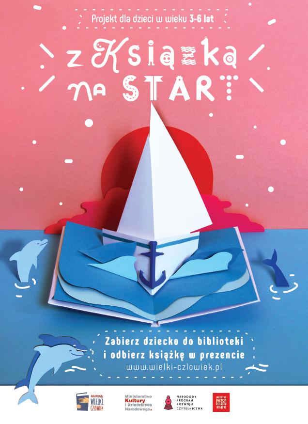 Plakat promujący projekt Z książką na start dla dzieci w weiku 3-6 lat