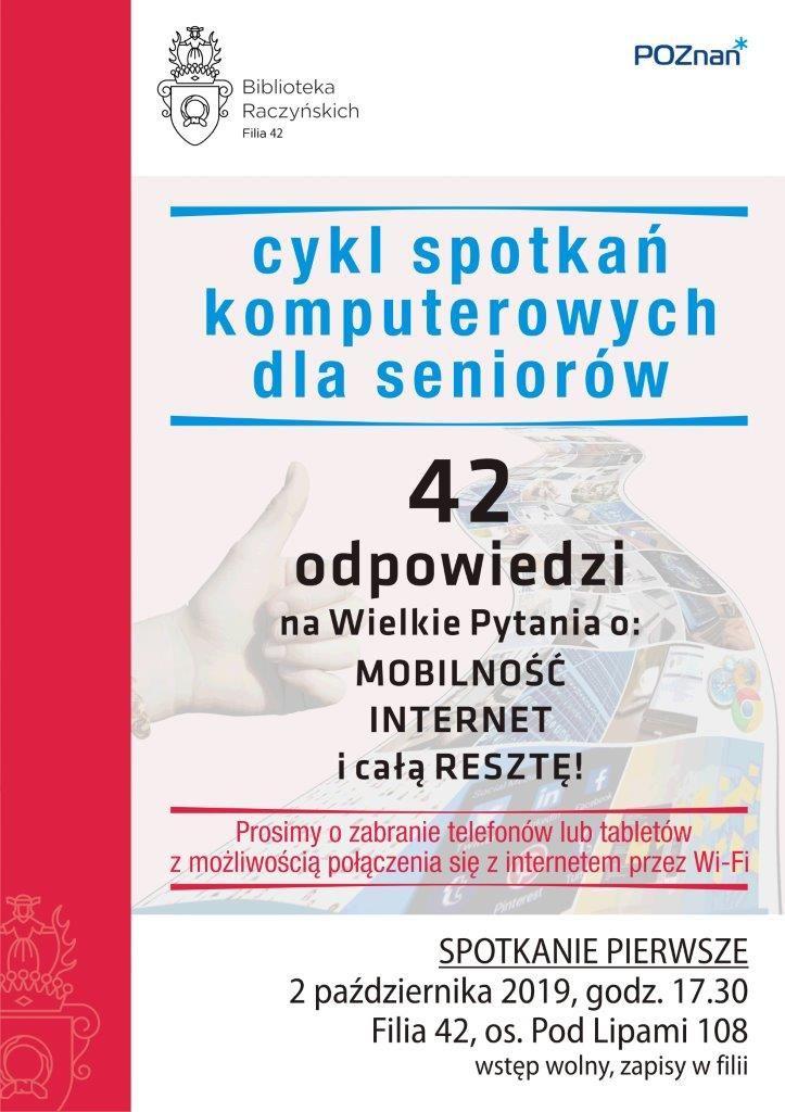 Plakat zapraszający na cykl spotkan komputerowych dla seniorów w Filii 42