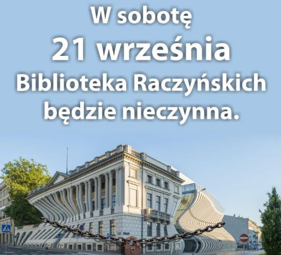 Grafika informująca o zamknieciu biblioteki 21.09.2019
