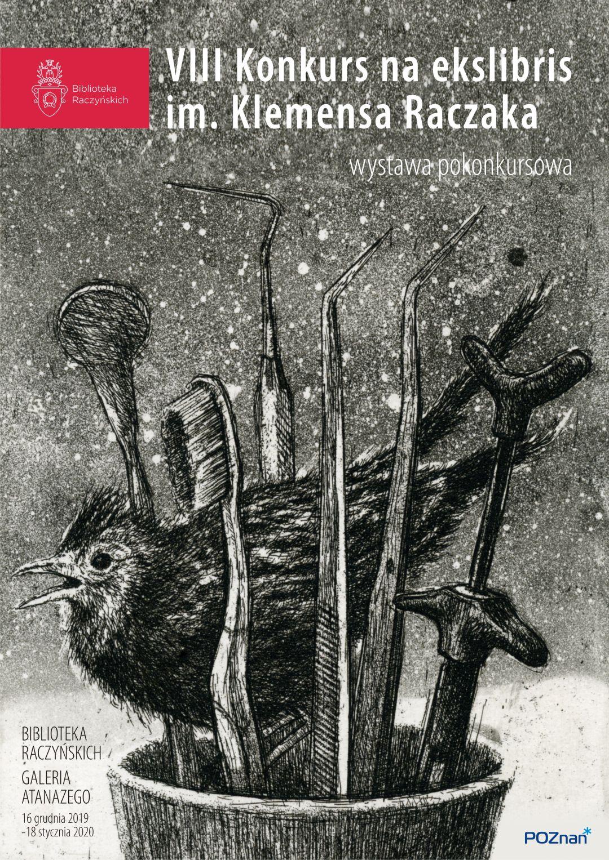Plakat zapowiadający wystawę ekslibrisów. Na plakacie zwycięska praca, ekslibris Anny Skowronek autorstwa Marcina Białasa