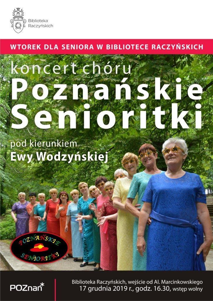 Plakat zapraszający na koncert chórku Poznańskie Senioritki