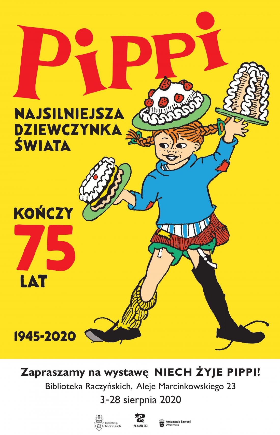 plakat informujący o wystawie o Pippi
