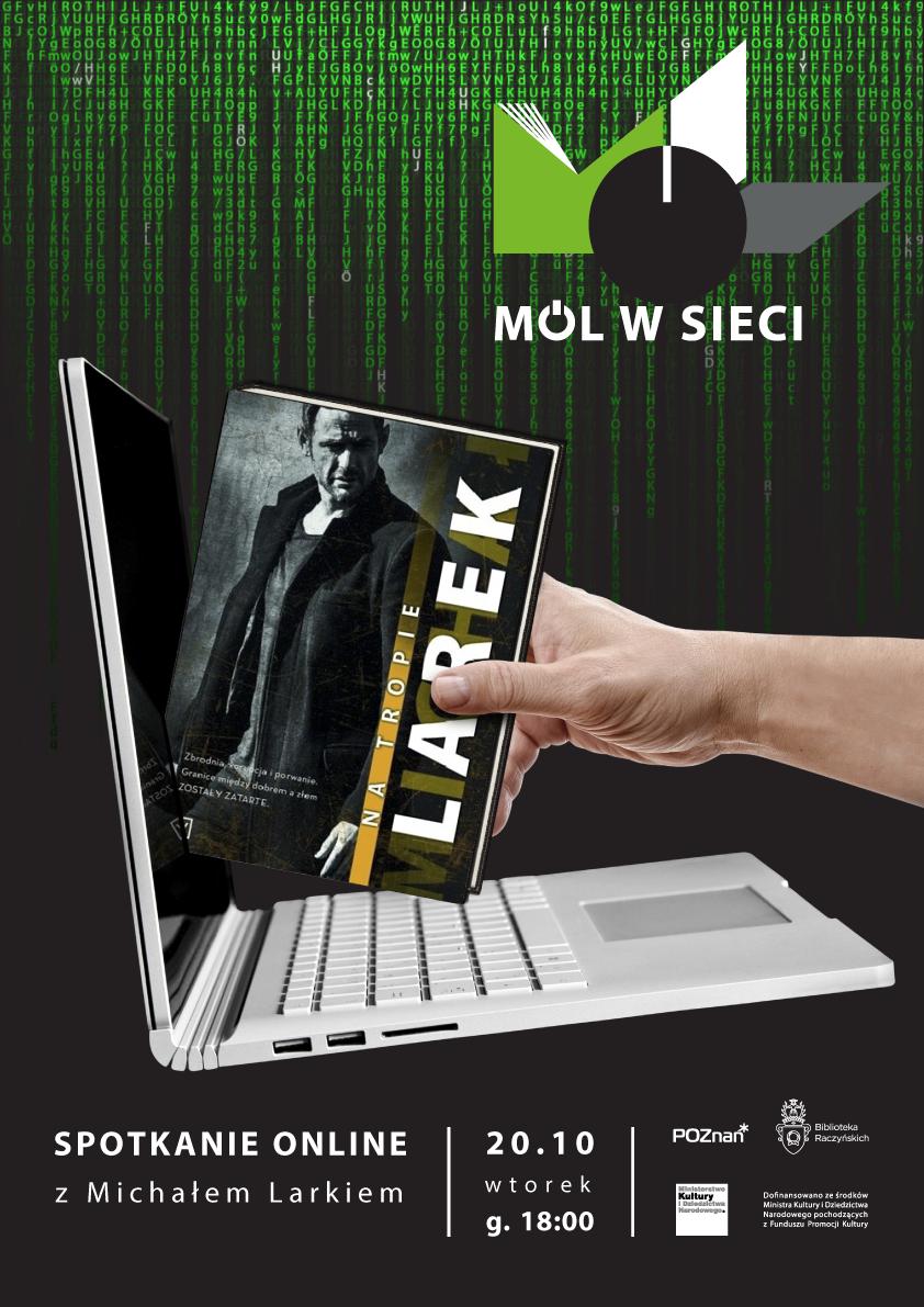Plakat informujący o spotkaniu z Michałem Larkiem