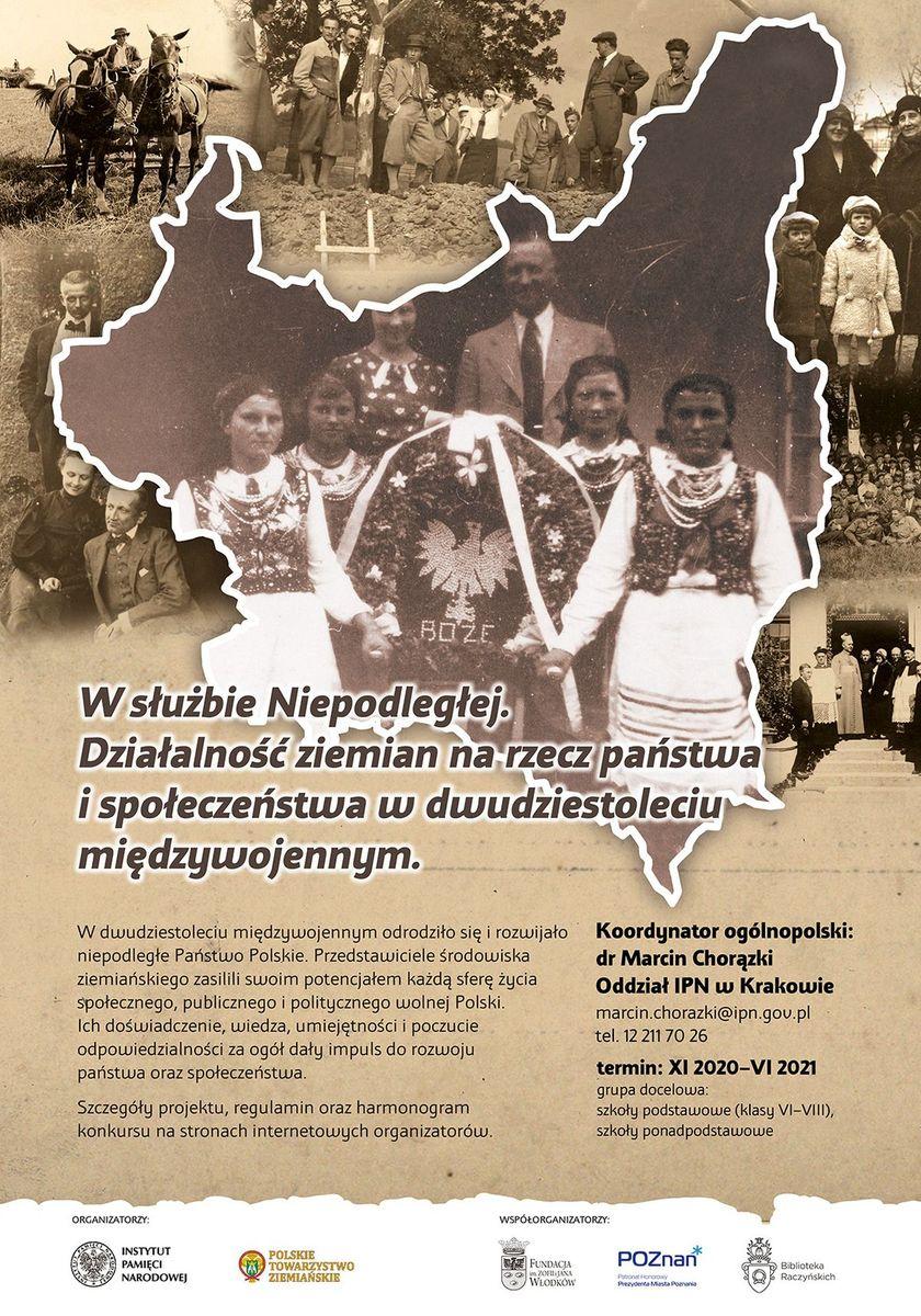 plakat informujący o konkursie W służbie Niepodległej