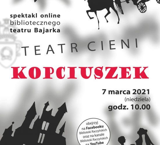 plakat informujący o pektaklu Kopciuszek: czarne kształty postaci, rzucajace cienie, w centrum czerwony napis Kopciuszek