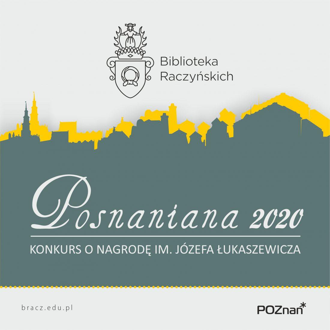 Grafika wiodąca towarzysząca Konkursowi o nagrodę im. Józefa Łukaszewicza. Przedstawia zarys panoramy Poznania